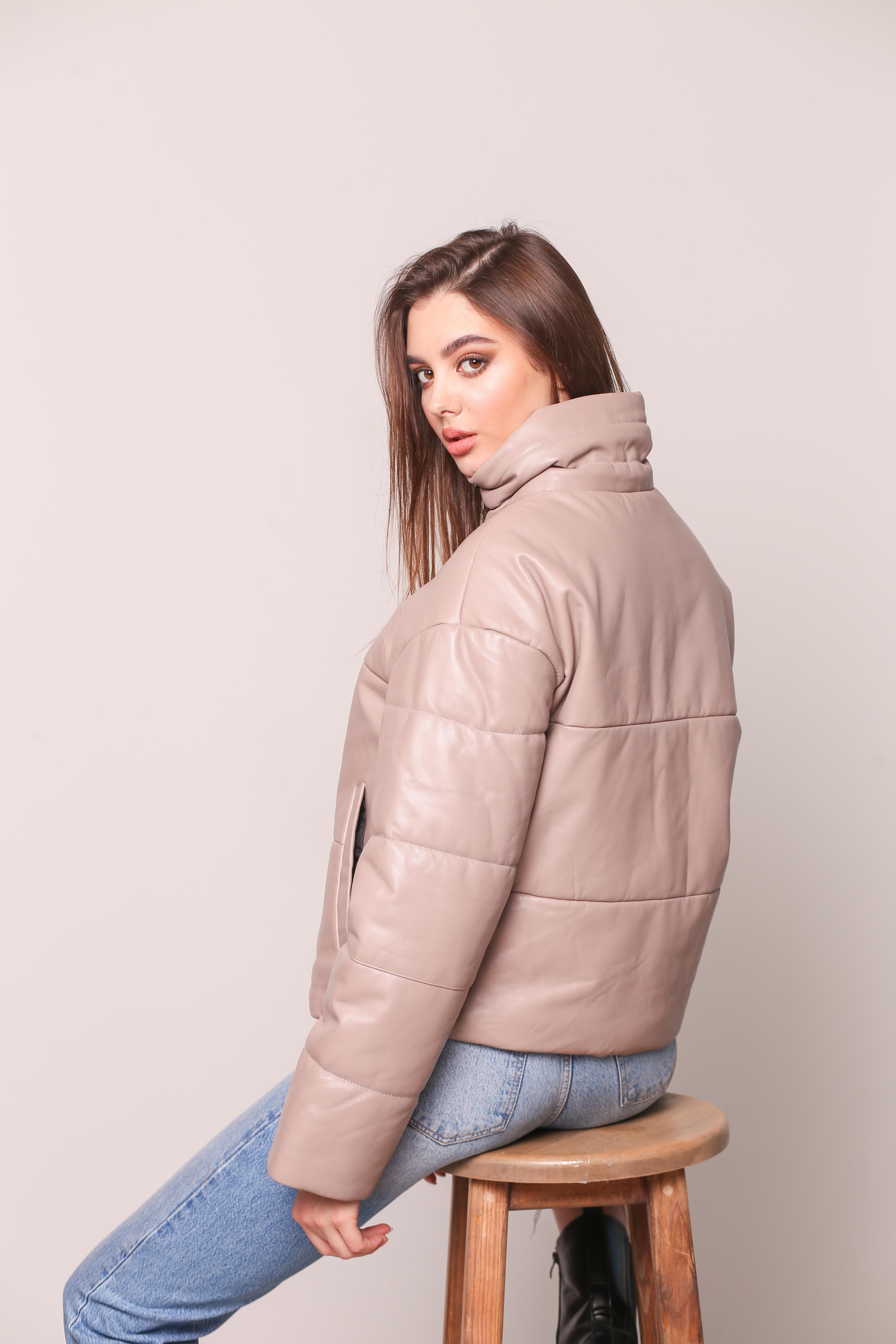 Женская кожаная утепленная куртка 1026