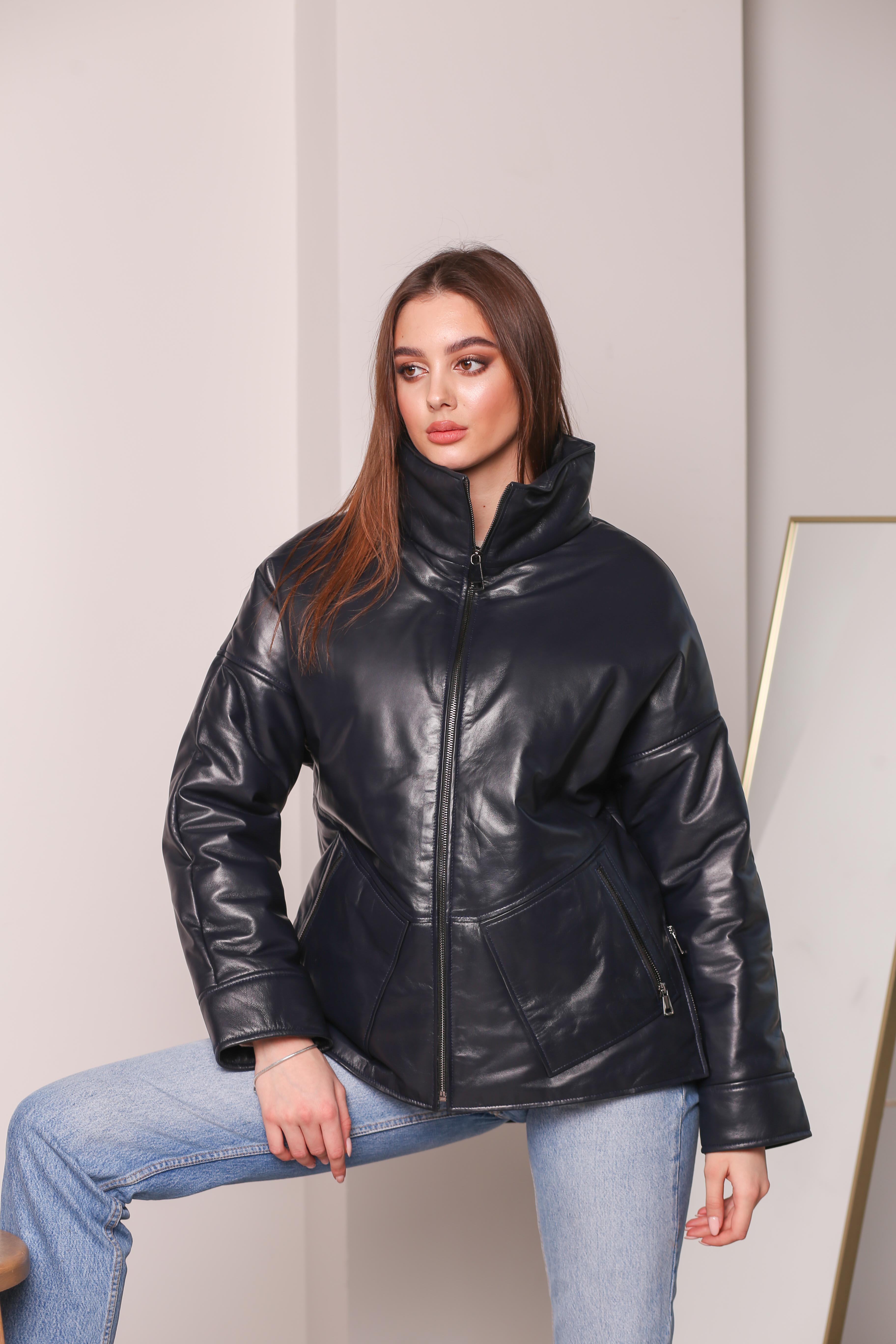 Женская кожаная утепленная куртка 2083