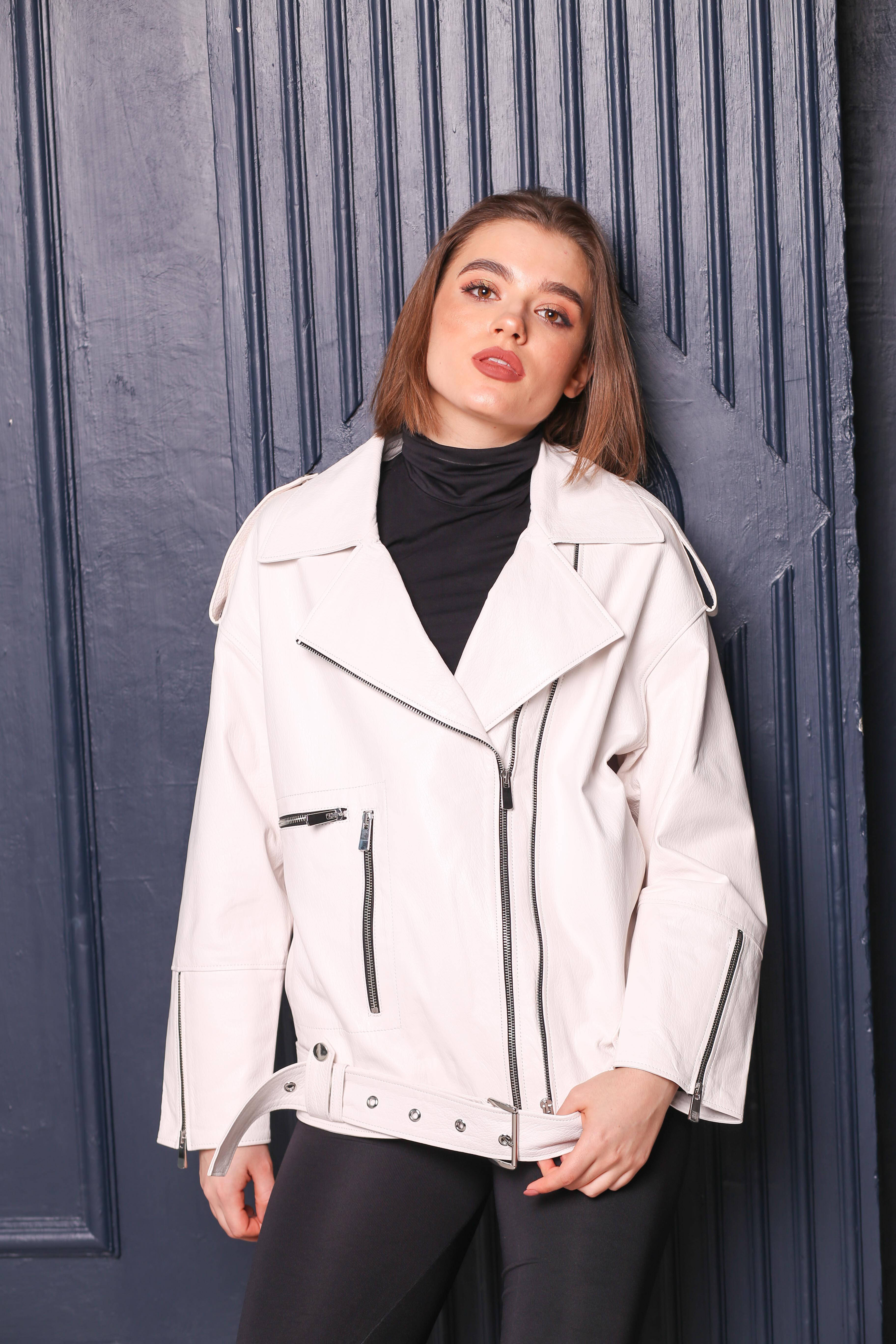Женская кожаная куртка-косуха C-3