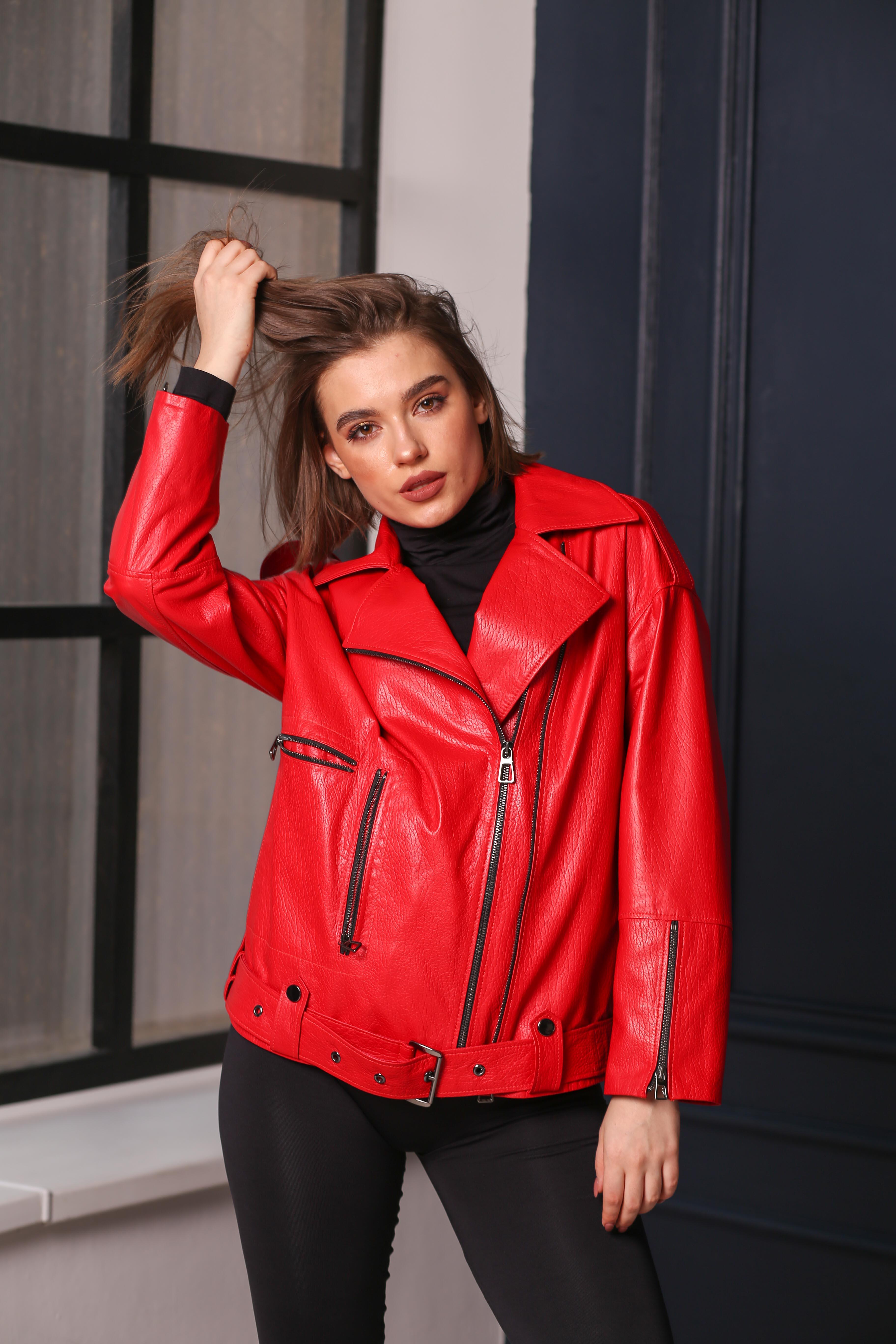 Женская кожаная куртка-косуха С-3
